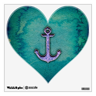 Trendy Blue and teal watercolor Heart Anchor Wall Decal