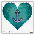 Trendy Blue and teal watercolor Heart Anchor Wall Decals