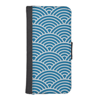 Trendy Blue and White Art Deco Seigaiha Scallops Phone Wallets