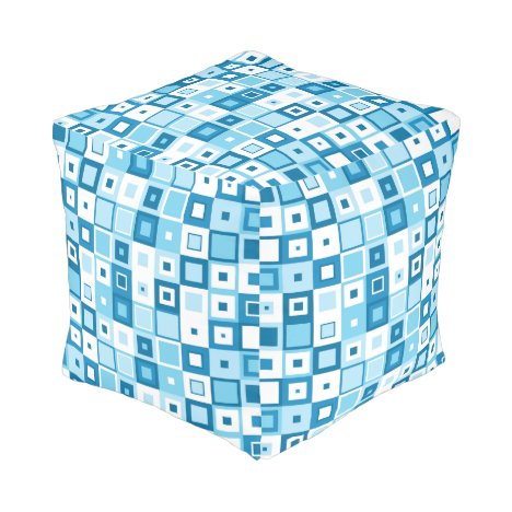 Trendy Blue and White Squares on Ottoman