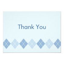Trendy Blue Argyle Flat Thank You Note Cards