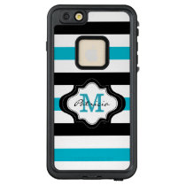 Trendy Blue Black White Wide Stripes Monogram LifeProof FRĒ iPhone 6/6s Plus Case