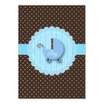 "Trendy Blue & Brown  Boy Baby shower Invitations 5"" X 7"" Invitation Card"