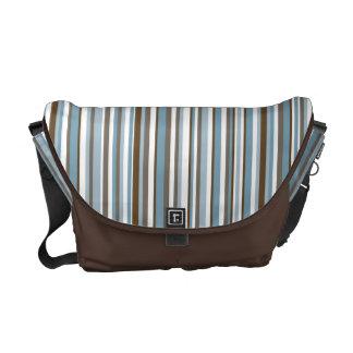 Trendy Blue & Brown Stripes Courier Bag