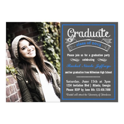 Trendy Blue Chalkboard Typography Graduation Personalized Invite