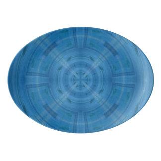 Trendy Blue Circle Pattern Porcelain Serving Platter