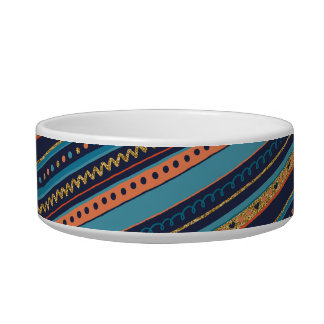 Trendy Blue, Coral & Faux Gold Glitter Stripes Bowl