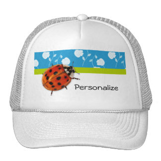 Trendy Blue Floral Ladybug With Name Trucker Hats