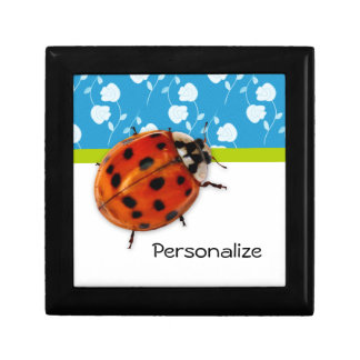 Trendy Blue Floral Ladybug With Name Jewelry Box
