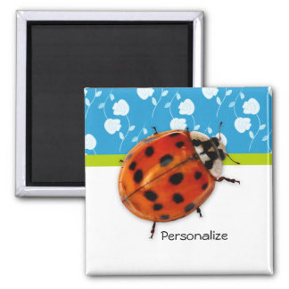 Trendy Blue Floral Ladybug With Name Magnet