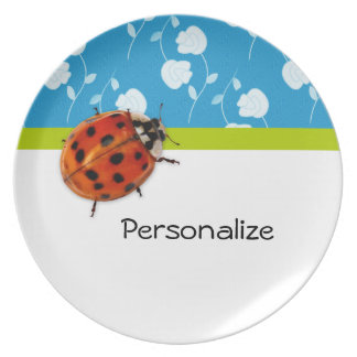 Trendy Blue Floral Ladybug With Name Melamine Plate