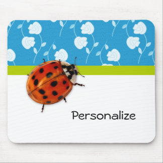 Trendy Blue Floral Ladybug With Name Mouse Pad