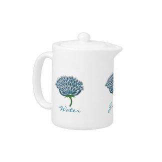 Trendy Blue Flower Design Teapot