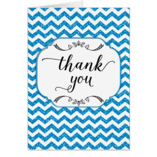 Trendy Blue Glitter Chevron Thank You Card