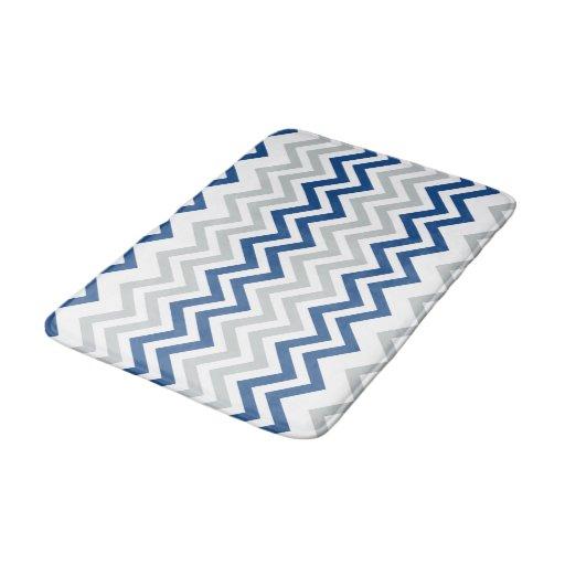 Trendy Blue Gray White Chevron Pattern Bathroom Mat Zazzle