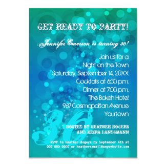 Trendy Blue Green Bokeh Party Invitation