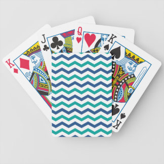 Trendy Blue Green Chevron Stripes Bicycle Playing Cards