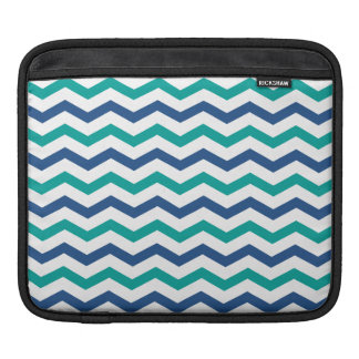 Trendy Blue Green Chevron Stripes iPad Sleeve