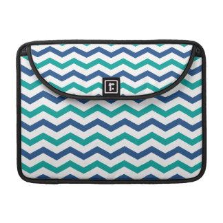 Trendy Blue Green Chevron Stripes MacBook Pro Sleeve