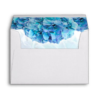 Trendy Blue Hydrangea Wedding Envelope