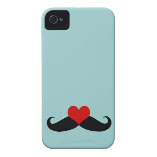 Trendy Blue I love Mustaches iPhone Case