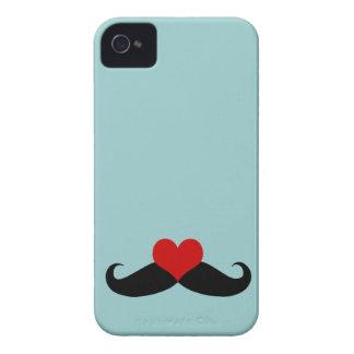 Trendy Blue I love Mustaches iPhone Case iPhone 4 Case-Mate Case