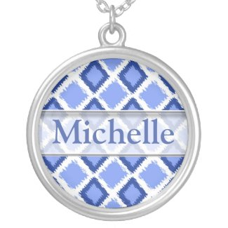 Trendy Blue Ikat Pattern With Custom Name Necklace