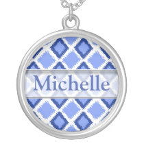 Trendy Blue  Ikat Pattern With Custom Name Silver Plated Necklace