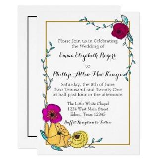 Trendy Blue Magenta Poppy Yellow Floral Modern Invitation