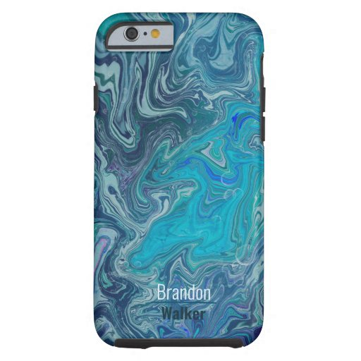 Trendy blue marbling design tough iPhone 6 case