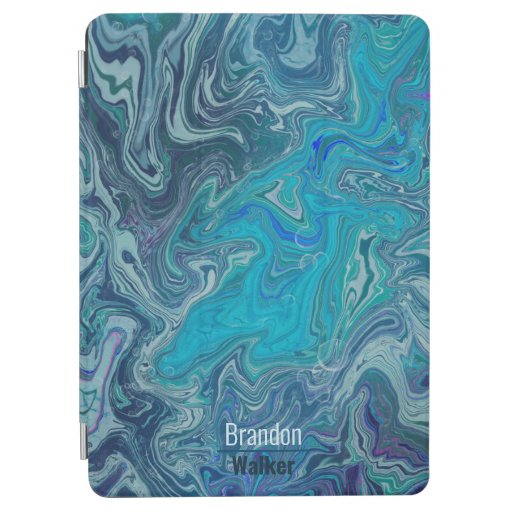 Trendy blue marbling design iPad air cover