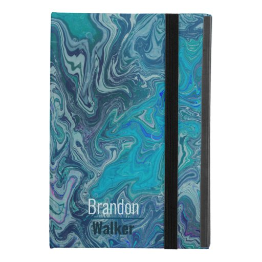 Trendy blue marbling design iPad mini 4 case