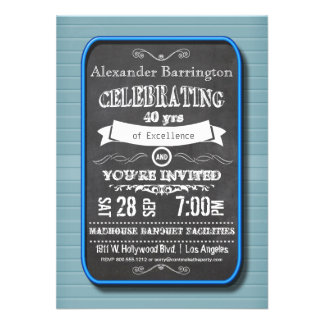 Trendy Blue Neon Chalkboard Birthday Party Invite