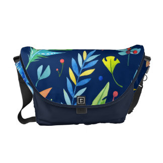 Trendy Blue-Orange Floral Boho Feather Pattern Courier Bag