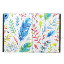 Trendy Blue-Orange Floral Boho Feather Pattern iPad Air Cases