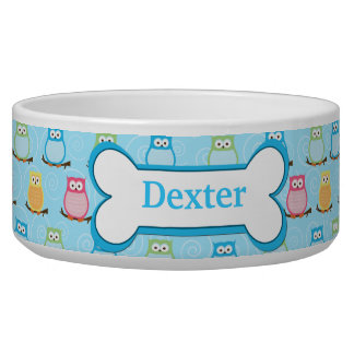 Trendy Blue Owls Customized Pet Dog Food Bowl
