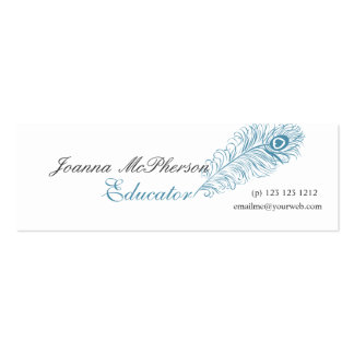 Trendy Blue  Peacock Feather Writing Typograhpy Mini Business Card