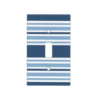 Trendy Blue Striped Light Switch Cover