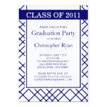 "Trendy Blue Stripes Graduation Invitation 5"" X 7"" Invitation Card"