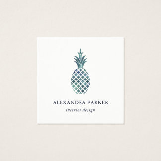Trendy Blue Watercolor Look Pineapple Square Business Card
