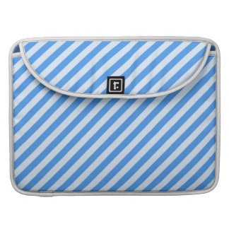 Trendy  Blue & White Modern Stripes Pattern Sleeve For MacBook Pro
