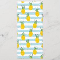 Trendy Blue White Stripes Pineapple Pattern