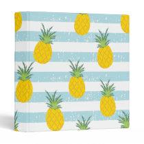 Trendy Blue White Stripes Pineapple Pattern 3 Ring Binder