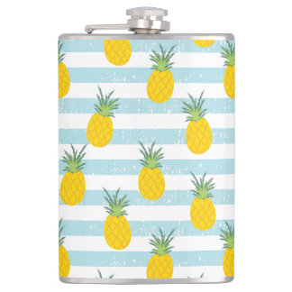 Trendy Blue White Stripes Pineapple Pattern Flask