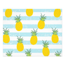 Trendy Blue White Stripes Pineapple Pattern Flyer