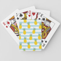 Trendy Blue White Stripes Pineapple Pattern Playing Cards