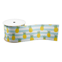 Trendy Blue White Stripes Pineapple Pattern Satin Ribbon