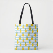 Trendy Blue White Stripes Pineapple Pattern Tote Bag