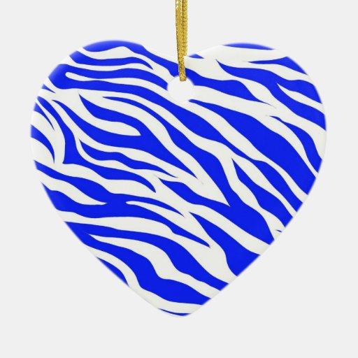 Trendy Blue White Zebra Stripes Wild Animal Prints Double-Sided Heart Ceramic Christmas Ornament