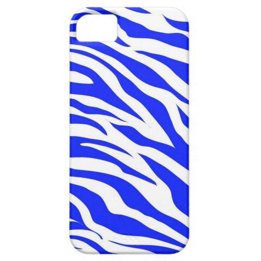 Trendy Blue White Zebra Stripes Wild Animal Prints iPhone 5 Covers